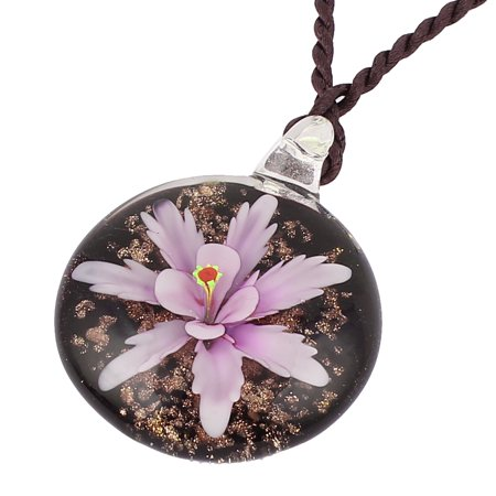 Women Handmade Flower Lampwork Murano Necklace Light Purple Black