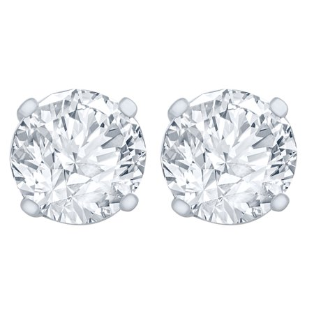 1/2 Carat Diamond Stud Earrings (I1 SI2 Clarity, HI Color) 14kt White Gold (Si2 Clarity Diamonds)