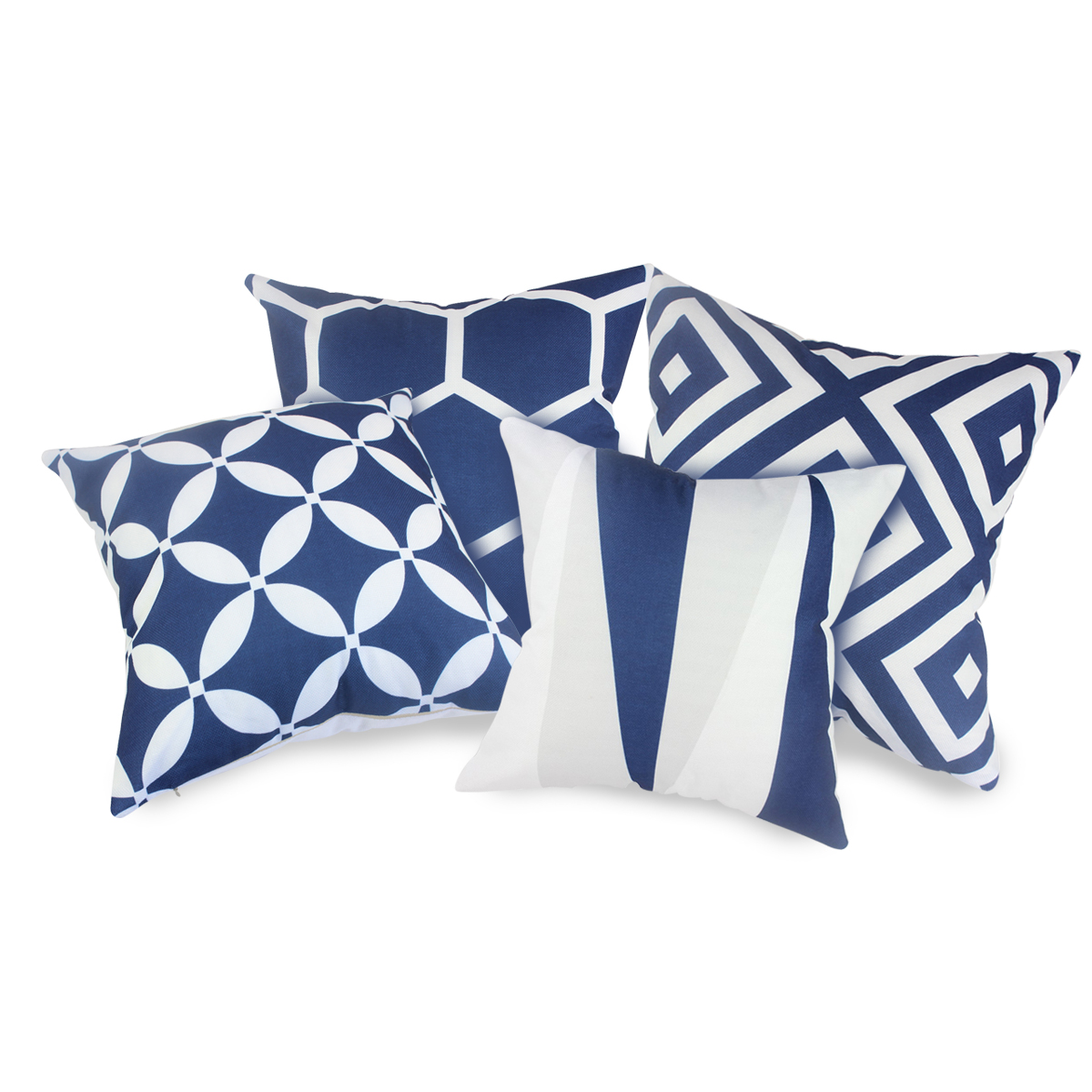 Fabricmcc Set of 4 Navy blue And White Geometric Decorative Pillow Covers,Fashion Couch Throws Cases Cushion Pillow Covers 18 x 18 for Living Room