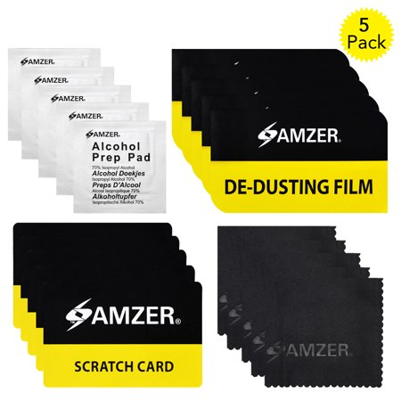 Screen Cleaning Kit, Screen Care with Cleaning Cloth, Alcohol Prep Pad, Scratch Card and De-Dusting Film for Smartphone,Tablet Screens (Pack of 5)