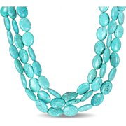 Turquoise Bead Brass Three-Strand Necklace, 20
