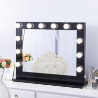 Chende Large Black Hollywood Lighted Makeup Vanity Mirror Light, Makeup Dressing Table Vanity Set Mirrors with Dimmer