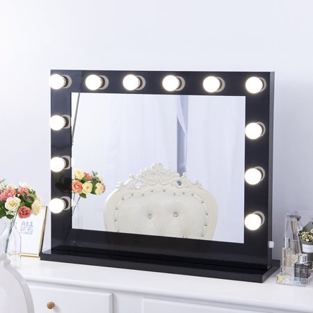 Chende Large Black Hollywood Lighted Makeup Vanity Mirror Light Dressing Table Set Mirrors