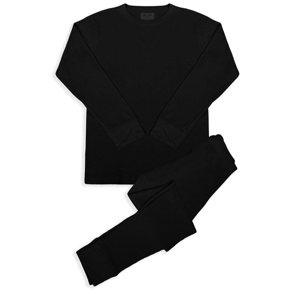 BASICO Men's 2pc Long John Thermal Underwear Set 100% Cotton (Single) by