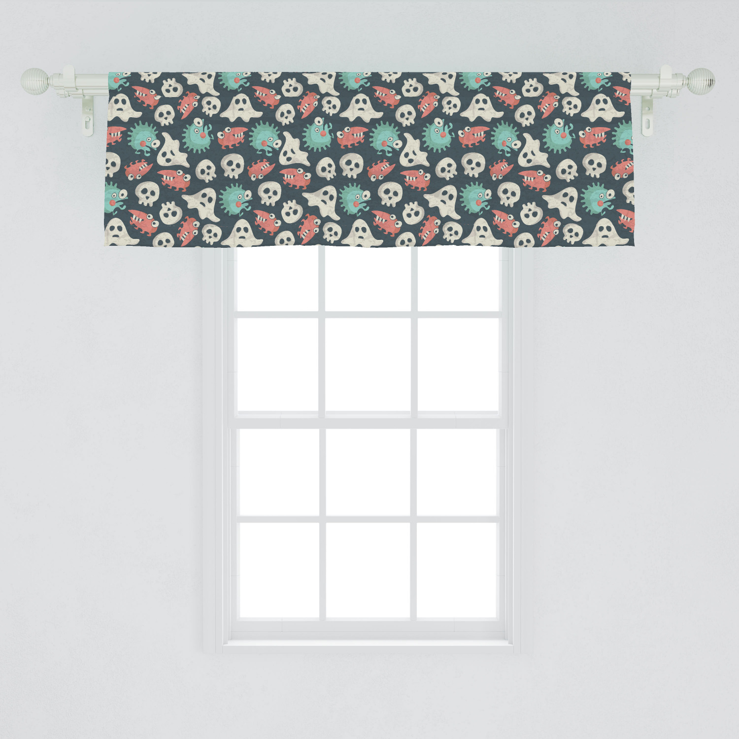 Ghost Window Valance Pattern With Spooky Weird Monsters Ghosts And Skulls Grunge Look In Muted Colors Curtain Valance For Kitchen Bedroom Decor With Rod Pocket By Ambesonne Walmart Com Walmart Com