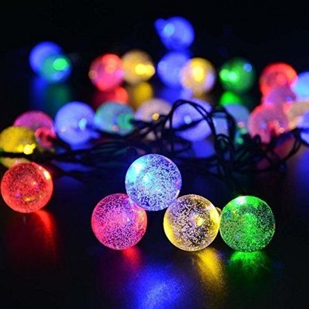 seicosy solar outdoor christmas string lights 30led crystal ball waterproof light for garden yard
