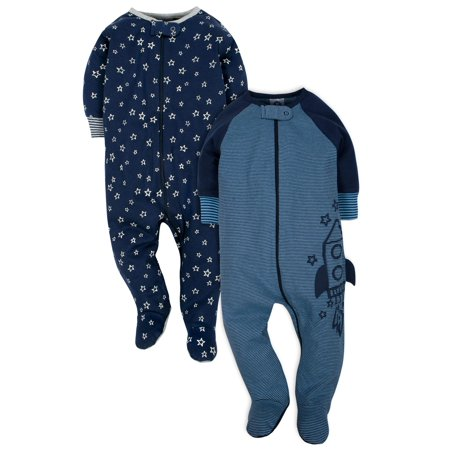 Trim Organic Cotton - Organic Cotton Jersey Sleep N' Plays, 2pk (Baby Boy)