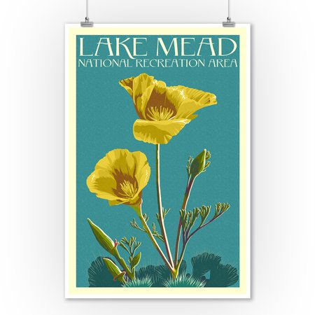 Lake Mead - National Recreation Area - Bear Paw Poppy - Letterpress - Lantern Press Poster (9x12 Art Print, Wall Decor Travel