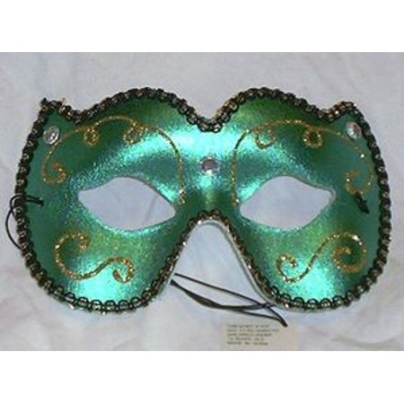 Green Gold Jewel Masquerade Costume Party Mask - French Masquerade Costume