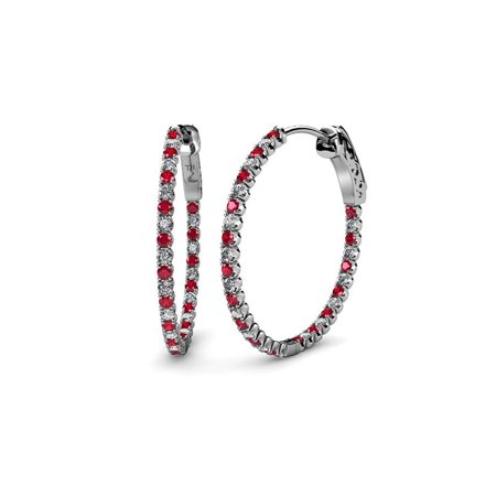 Ruby and Diamond (SI2-I1, G-H) Inside-Out Hoop Earrings 2.77 ct tw in 14K White Gold