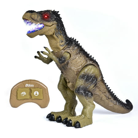 Remote Control Dinosaur Toys for Boys with Walking & Lights & Roaring & Spraying, RC T-Rex for Kids 18.5