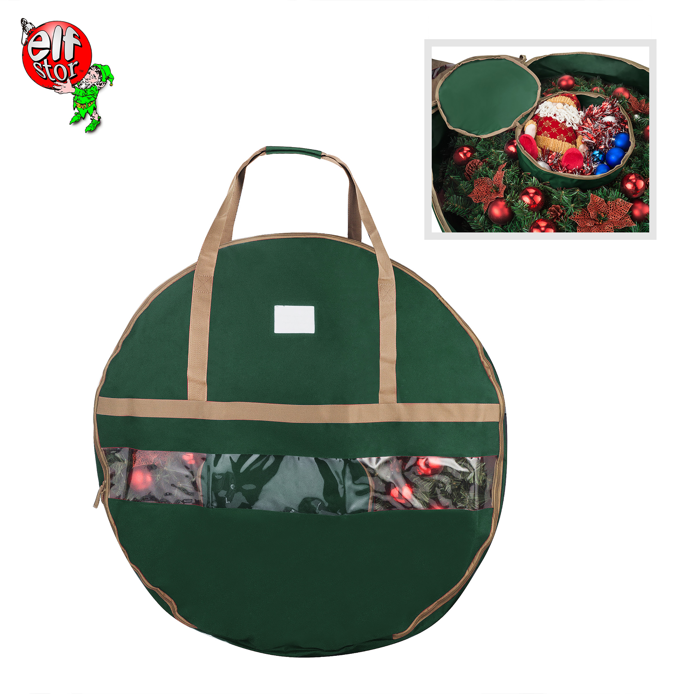 "Elf Stor Ultimate Green Holiday Christmas Wreath Storage Bag For 24"" Inch Wreaths"