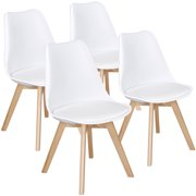 SmileMart Mid-Century Modern Padded Dining Chairs, Set of 4, Multiple Colors