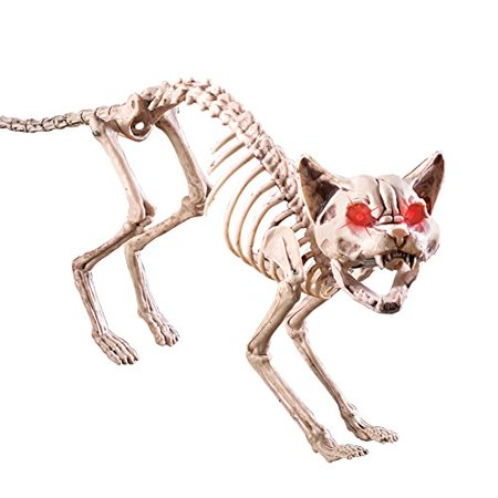 Motion-Sensored Skeleton Cat Halloween Decoration for $<!---->