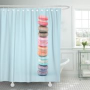 SUTTOM Stack of Sweet French Macaroons Cake Macarons Vintage Pastel Shower Curtain 66x72 inch