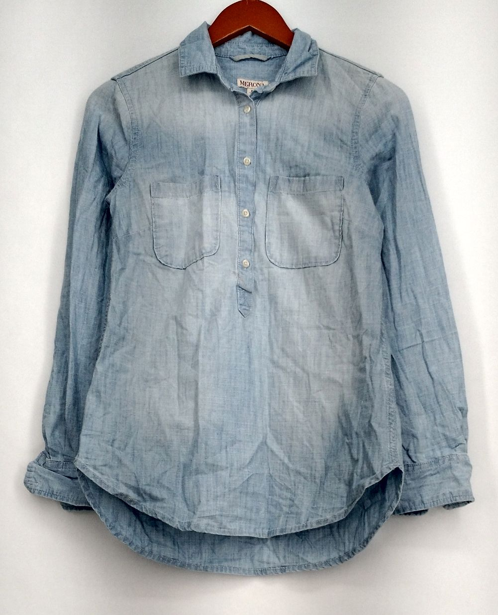bebc06877fe Pale Blue Denim Shirt Ladies | Saddha