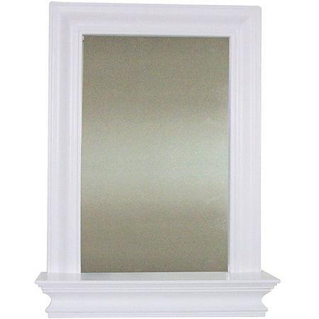 elegant home fashions bari wall mirror with shelf white - White Framed Mirror