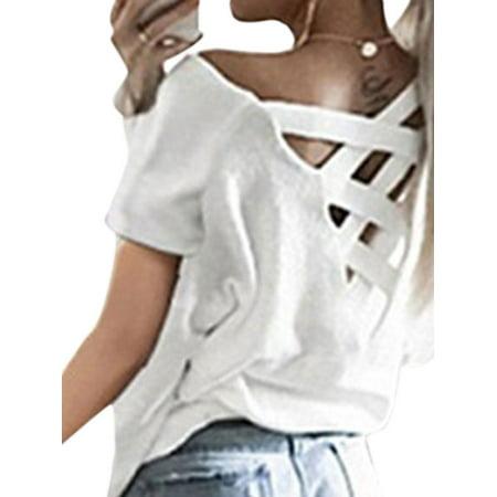 Womens Open Neck Shirt - DBoard Women Short Sleeve Round Neck Criss Cross Open Back Solid T-Shirt Tops Blouse