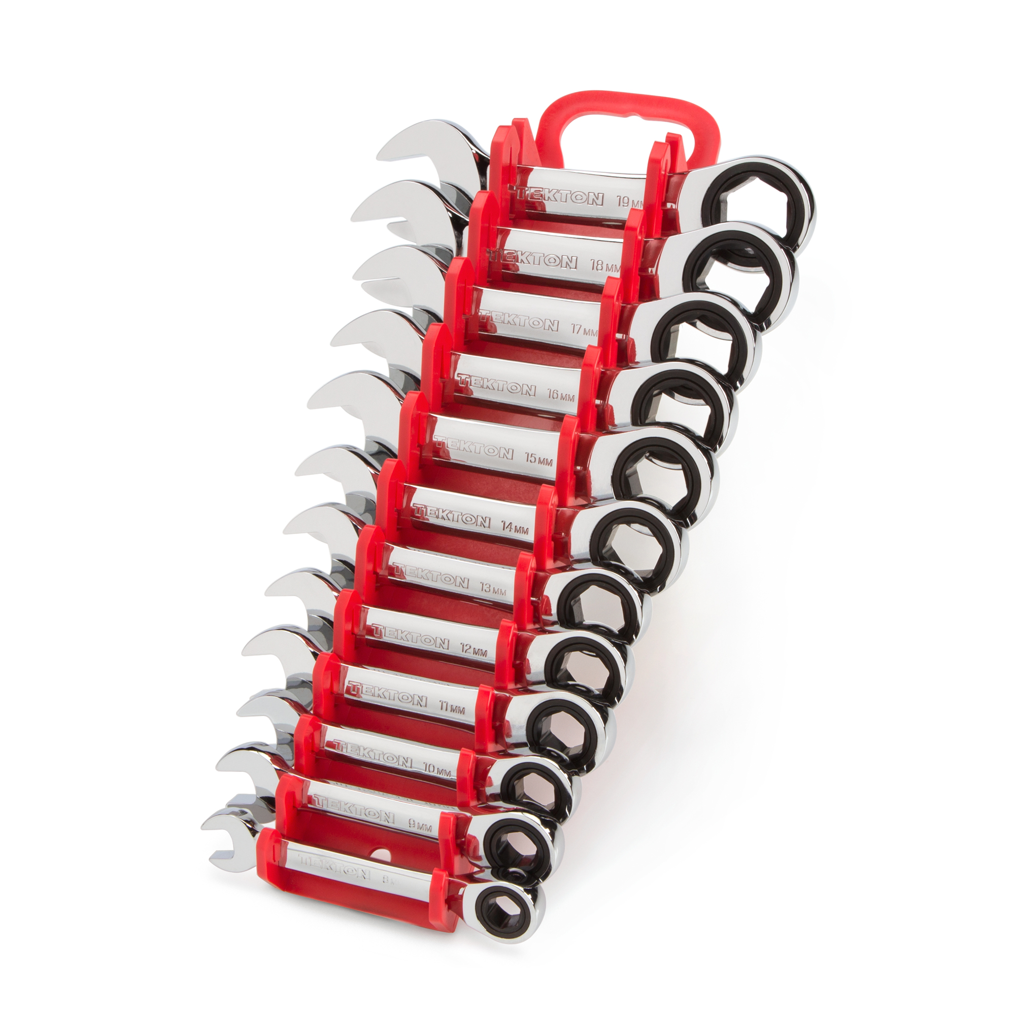 TEKTON Stubby Ratcheting Combination Wrench Set with Store and Go Keeper, Metric, 8 mm - 19 mm, 12-Piece | WRN50170