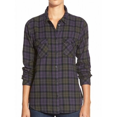 Sanctuary new blue green womens size small s plaid button for Plaid button down shirts for women