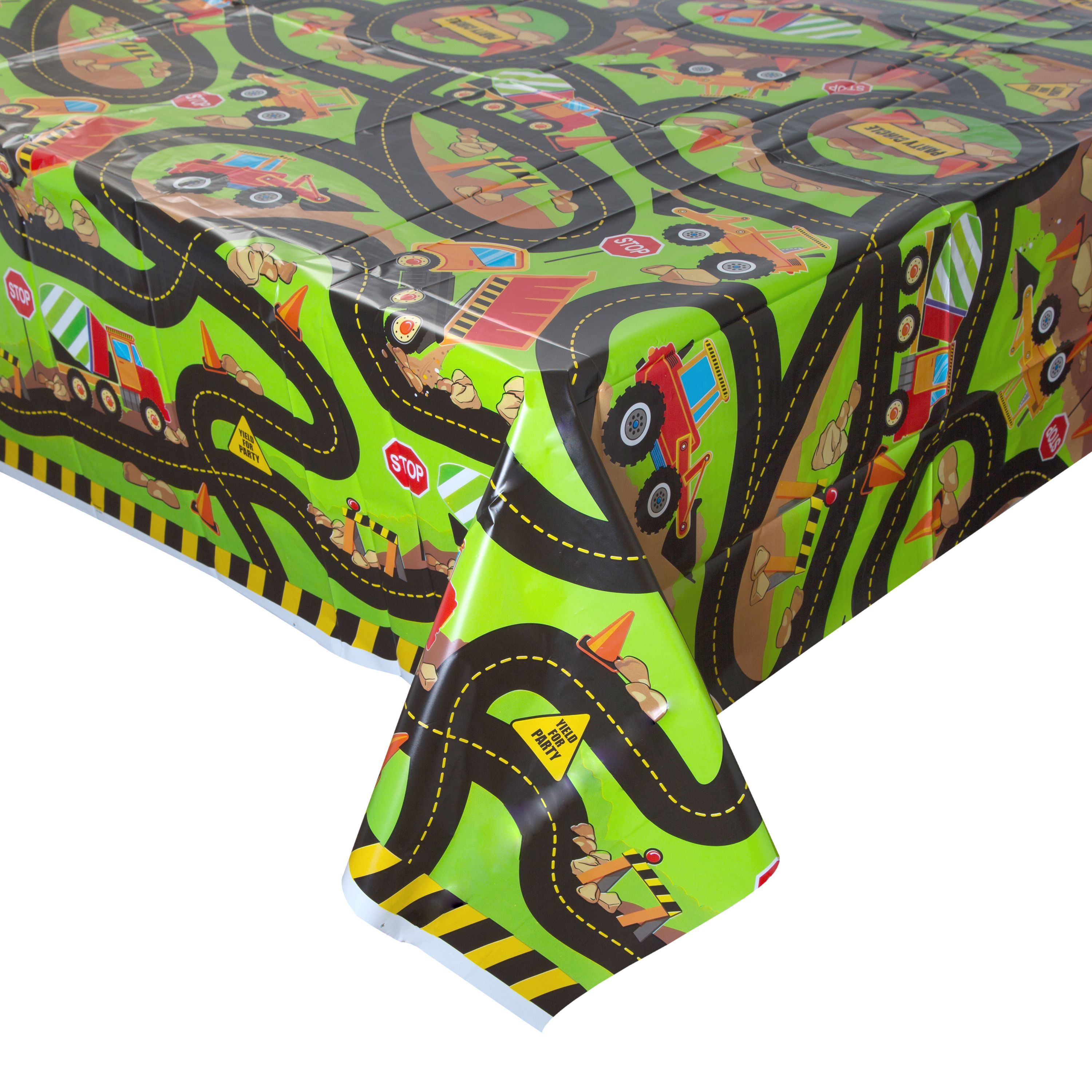 Construction Plastic Party Tablecloth, 84 x 54in