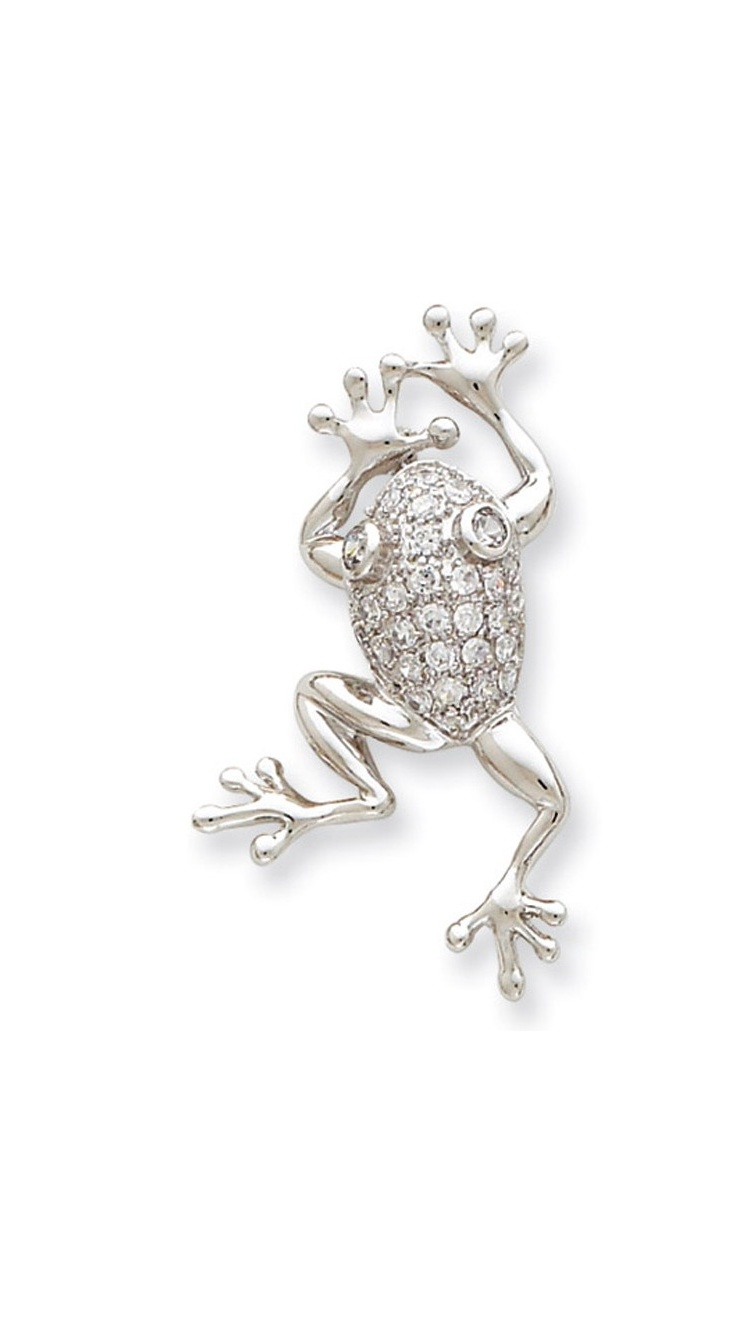Synthetic Cubic Zirconia (CZ) (CZ) Frog Pin Brooch in Sterling Silver by Gem And Harmony
