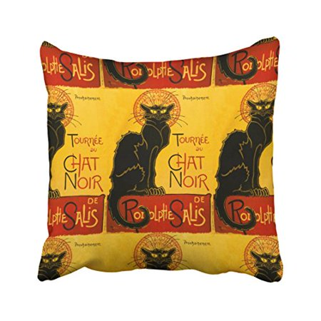 WinHome Vintage Steampunk Chic Multicolor Black Cat Art Nouveau Chat Polyester 18 x 18 Inch Square Throw Pillow Covers With Hidden Zipper Home Sofa Cushion Decorative Pillowcases](Steampunk Shoe Covers)