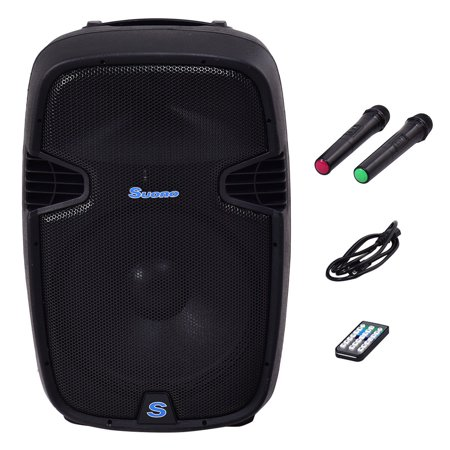 Costway Portable 12'' 600W Rechargable Battery Powered Speaker DJ/PA System Bluetooth