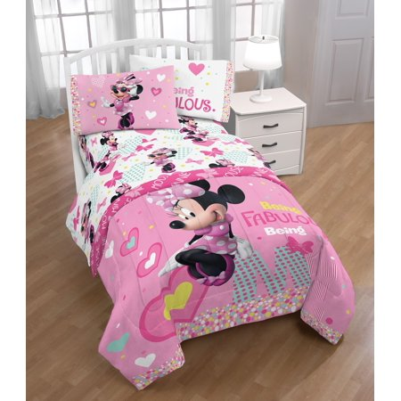 Mickey Minnie Mouse Bedding (Disney Minnie Mouse Kid's Bedding Twin Sheet Set, 1 Each )