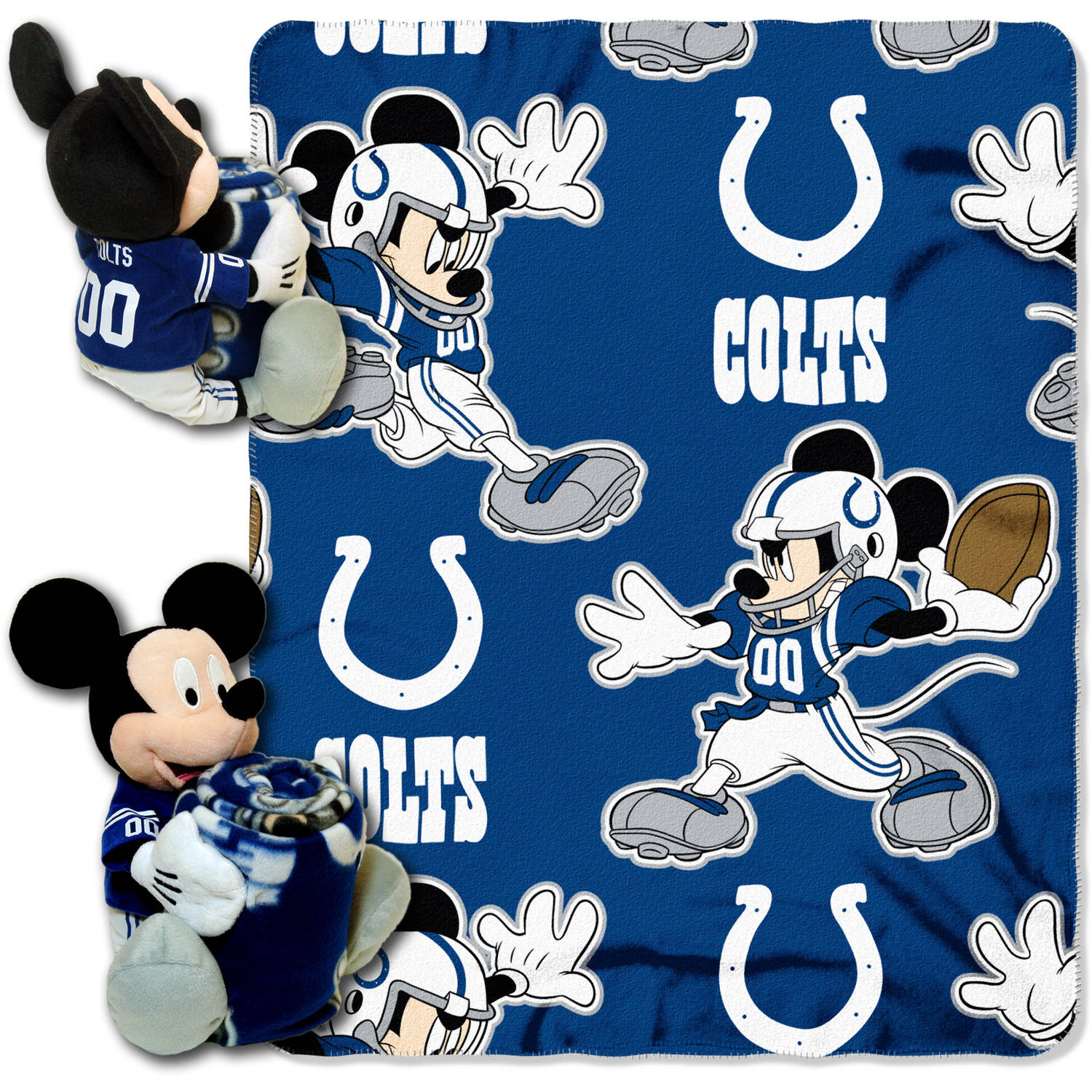 "Disney NFL Indianapolis Colts Hugger Pillow and 40"" x 50"" Throw Set"