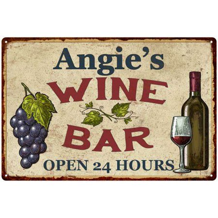 Angie's Rustic Wine Bar Sign Wall Décor Kitchen Gift 8 x 12 High Gloss Metal 208120056229 ()