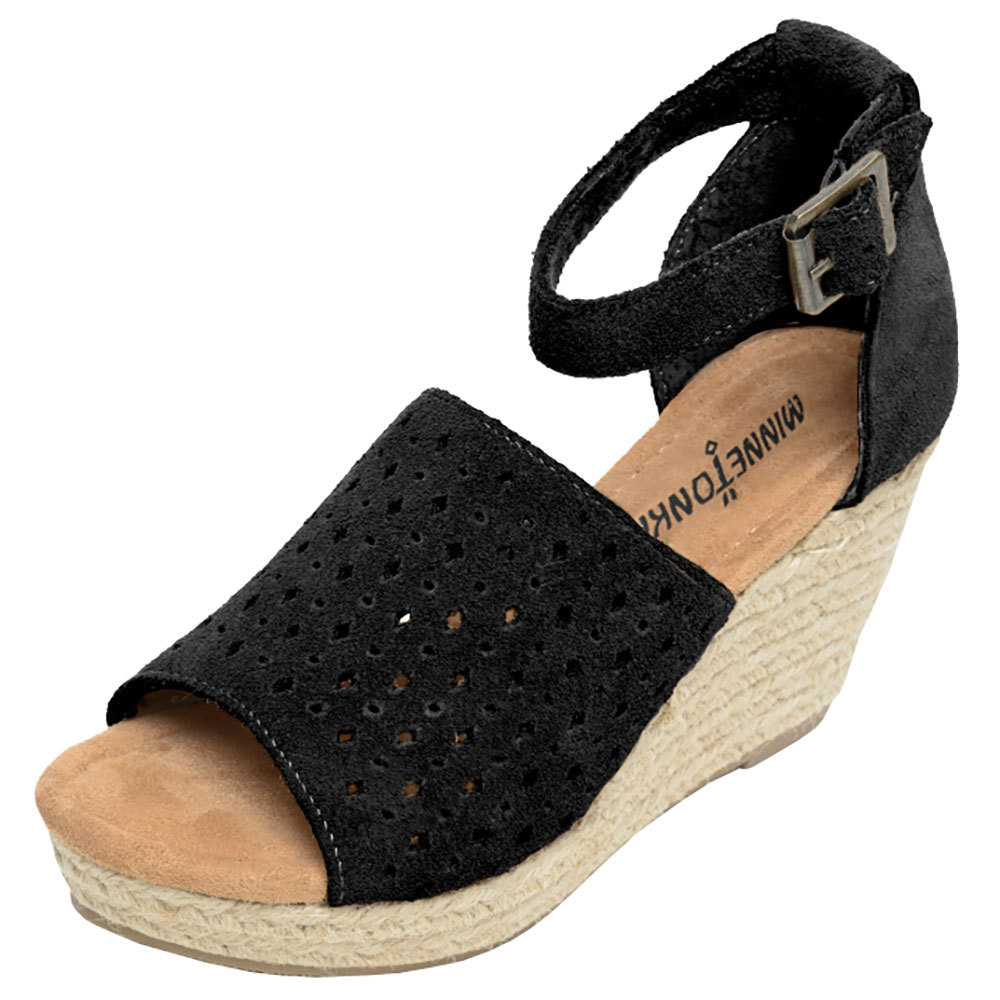 Minnetonka Womens Black Bell Suede Wedges by MINNETONKA