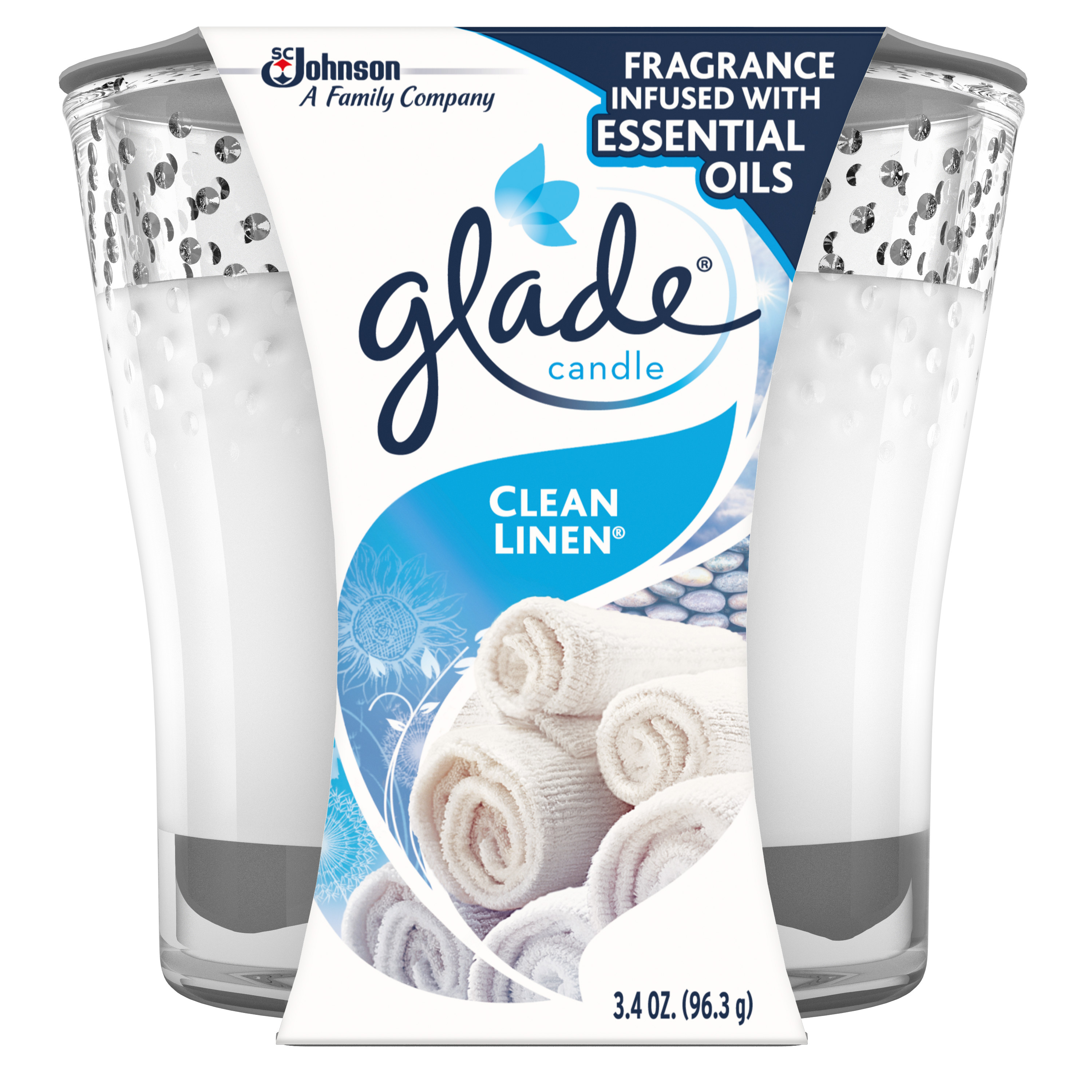 Glade Jar Candle Clean Linen, Quickly Fills Rooms With Essential Oil Infused Fragrance, 3.4 oz
