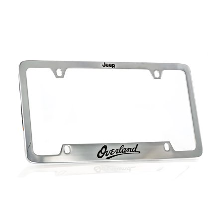Jeep Overland Chrome Plated Metal Bottom Engraved Brass License Plate Frame Holder 4 Hole