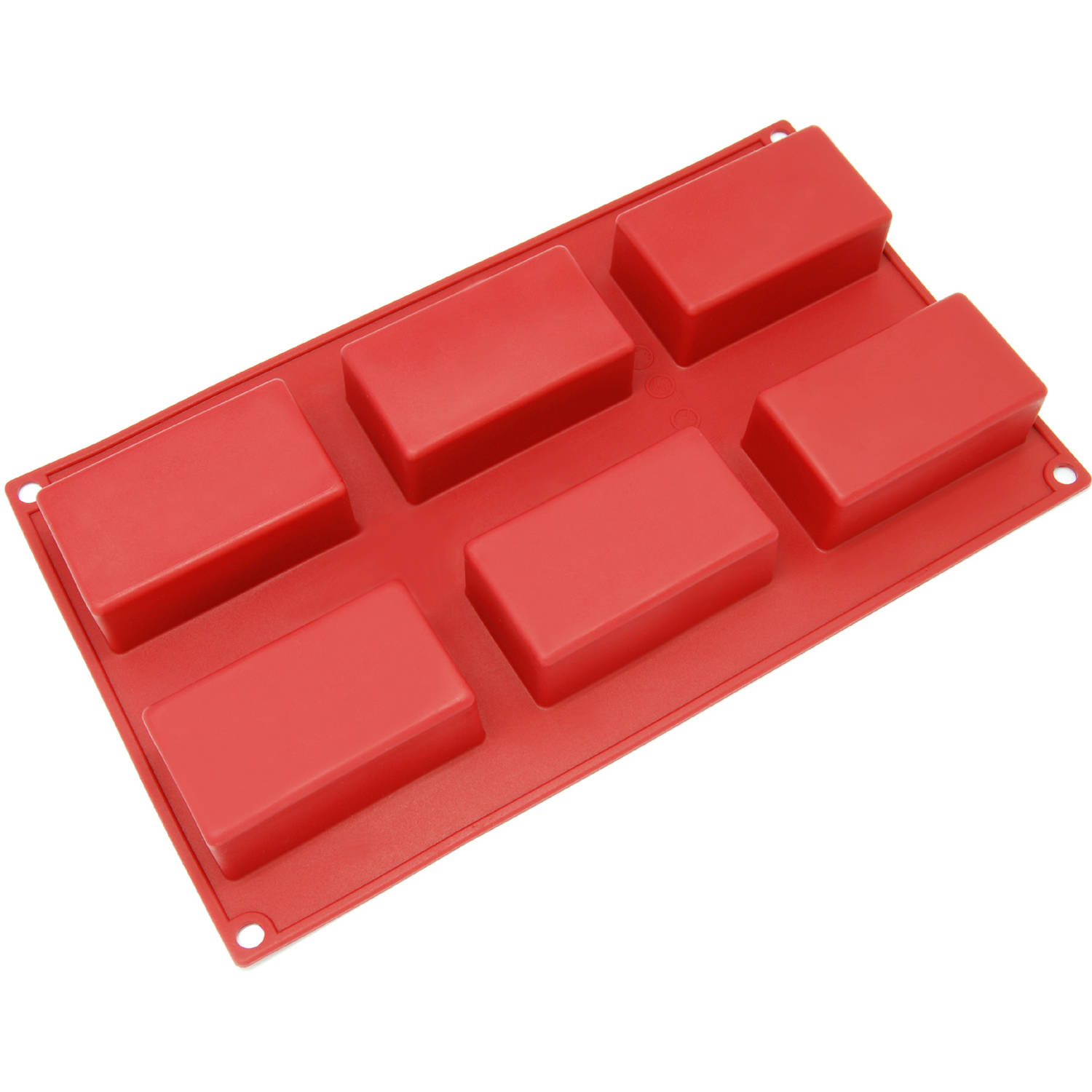 Freshware 6-Cavity Rectangle Silicone Mold for Muffin, Soap, Brownie, Cornbread, Cheesecake and Pudding, SL-131RD