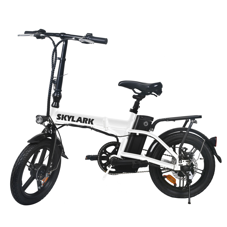 White TDL6123 Folding Ebike Electric Bike 36V 10AH Lithium Battery  250W Motor