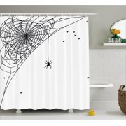 Spider Web Shower Curtain, Corner Cobweb with a Hanging Insect Hand Drawn Style Gothic Design with Flies, Fabric Bathroom Set with Hooks, 69W X 84L Inches Extra Long, Black White, by Ambesonne