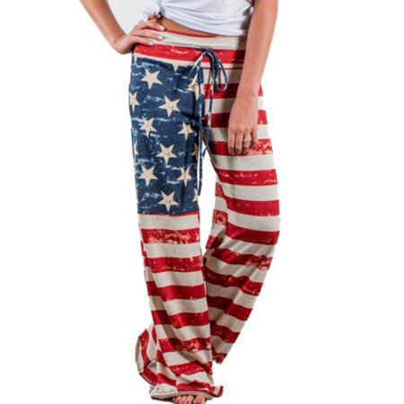 Womens Wide Leg Loose American Flag Printed Drawstring Pants Stretch Palazzo Yoga Trousers