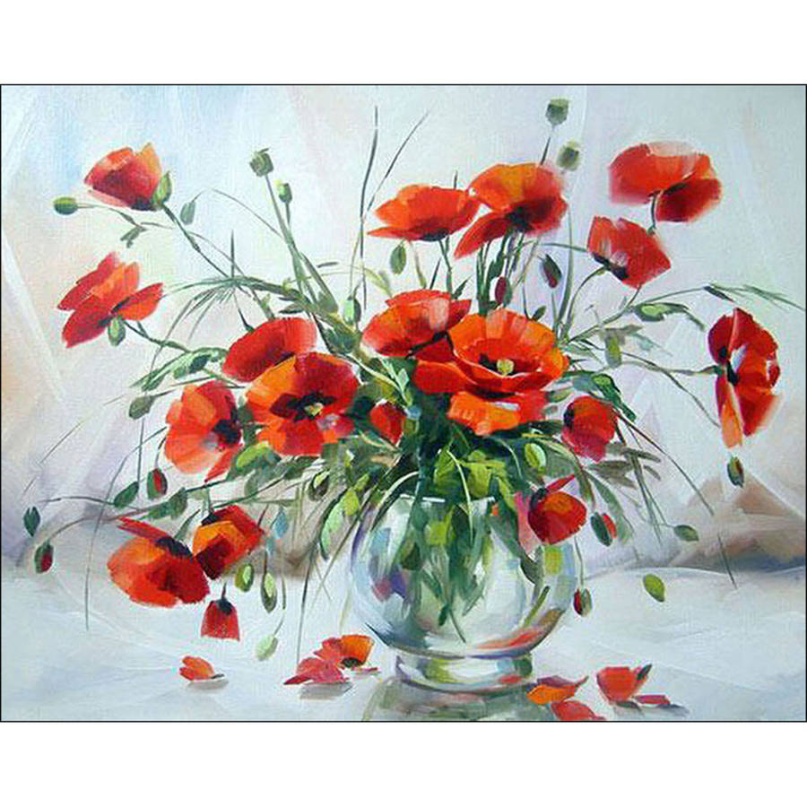 Collection D'Art Diamond Embroidery/Printed/Gem Kit, 48cm x 38cm, Poppies In A Vase
