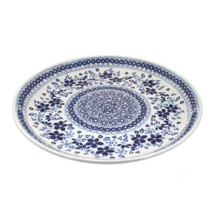 Polish Pottery Vintage Blue Daisy Large Dinner Plate - Large Dinner Plates