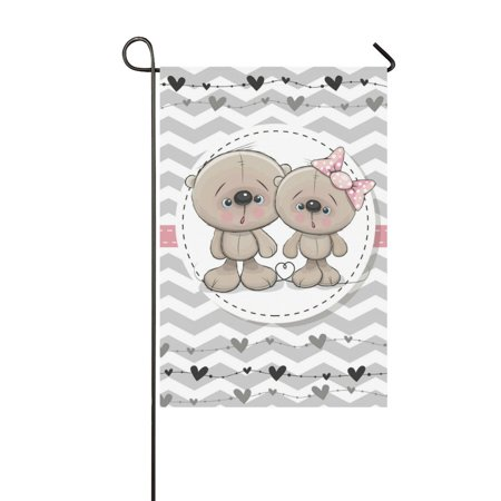MKHERT Cute Teddy Bears Garden Flag Banner Decorative Flag for Wedding Home Outdoor Garden Decor 12x18 inch