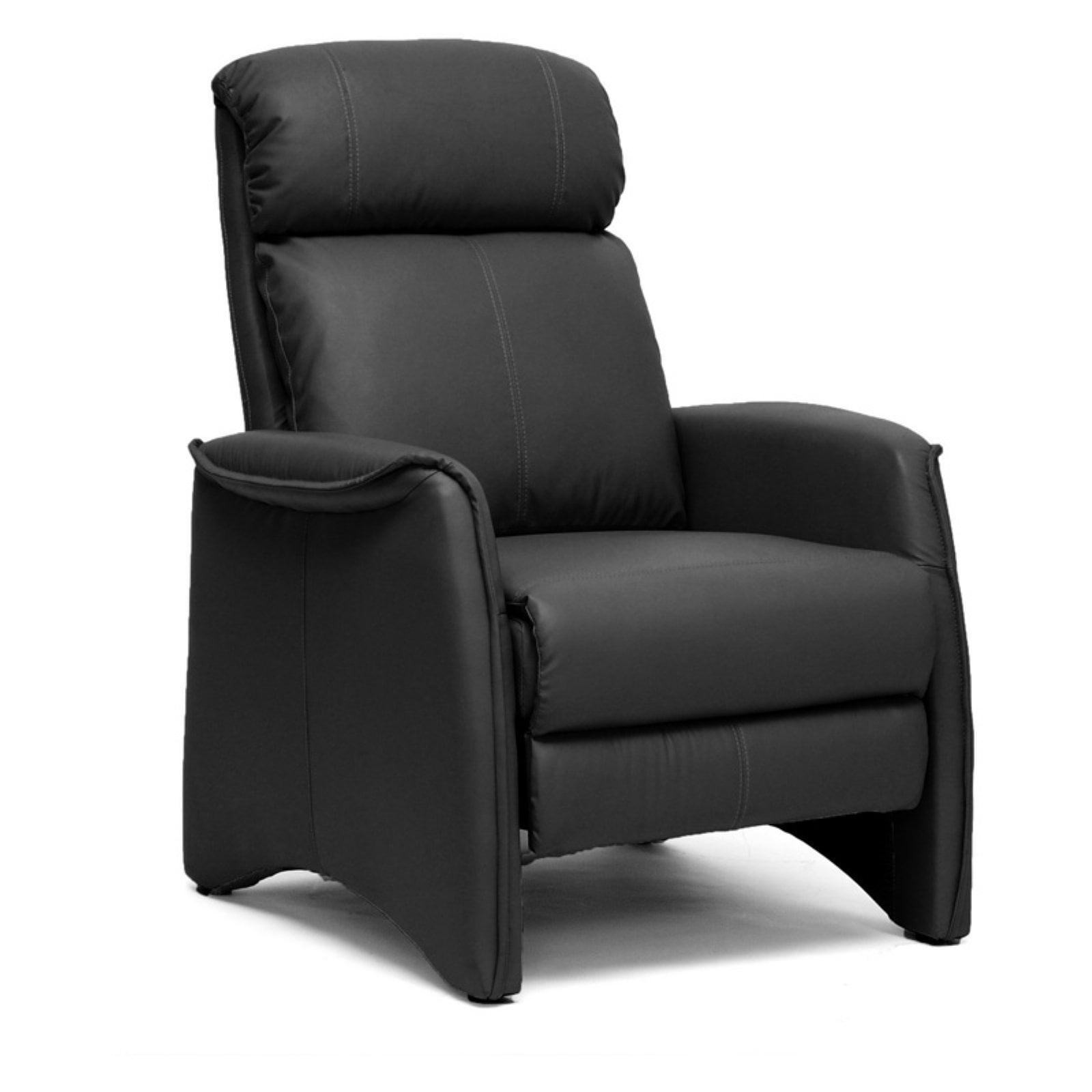 Aberfeld Black Modern Recliner Club Chair by Baxton Studio