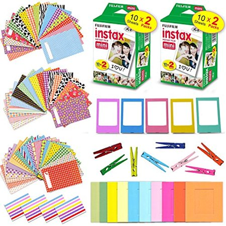 Mx Sticker Kits - Xtech Accessories Kit for Fujifilm Instax Mini 9/8 includes 2 Pack of Fujifilm Instax Mini Film (40 Sheets total), 120 Colorful Sticker Frames, Colorful Hanging Frames with Hanging Clips/String + More