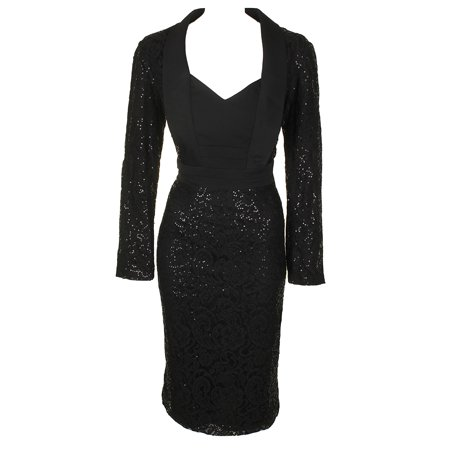 Sl Fashions Black Long-Sleeve Sequined Lace Tuxedo Sheath Dress 12
