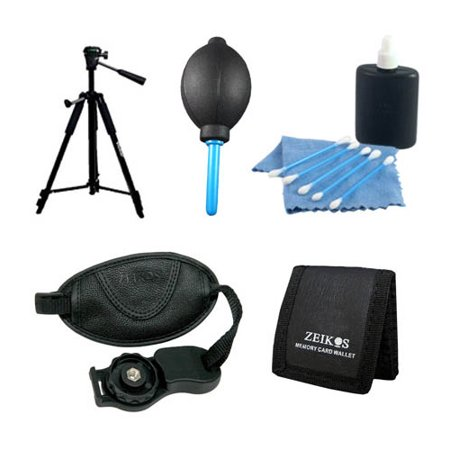 "5 pc Accessory Bundle Kit Tripod Lens Cleaning Kit Professional Blower 60"" tripod Memory Card Wallet Wrist Grip Strap for Canon Nikon Sony & other Digital SLR Cameras ()"