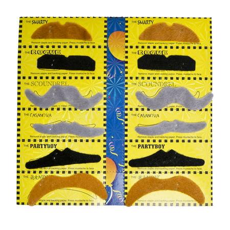 Set of 12 Black Brown Grey Costume Gentlemen Cowboy November Moustaches