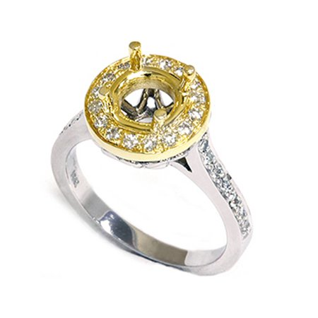 1/2ct Gold Pave Halo Diamond Engagement Ring Setting Vintage Heart Heirloom (4-9) - image 1 de 2