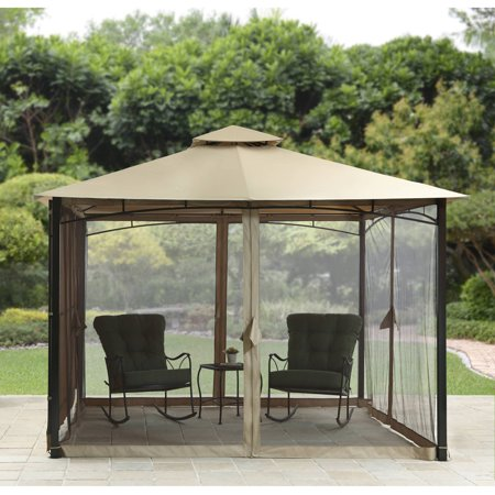 Better homes and gardens canal drive 11 39 x 11 39 outdoor cabin style gazebo with adjustable side Better homes and gardens gazebo
