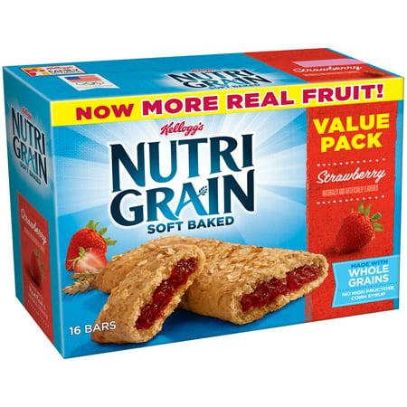 (2 pack) Kellogg's Nutri-Grain Value Pack, Soft Baked Strawberry Breakfast Bars, 1.3 oz, 16 ct