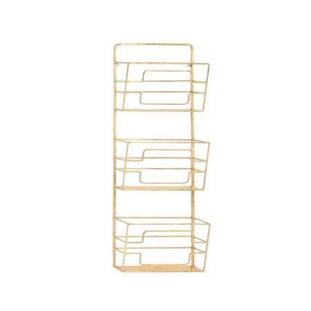 Decmode Modern Gold Iron 3 Tier Wall Mounted Magazine Rack
